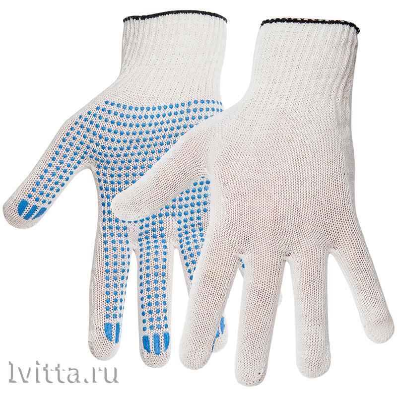 Перчатки х/б 10 класс с точечным ПВХ 5 нитки белый 1+1