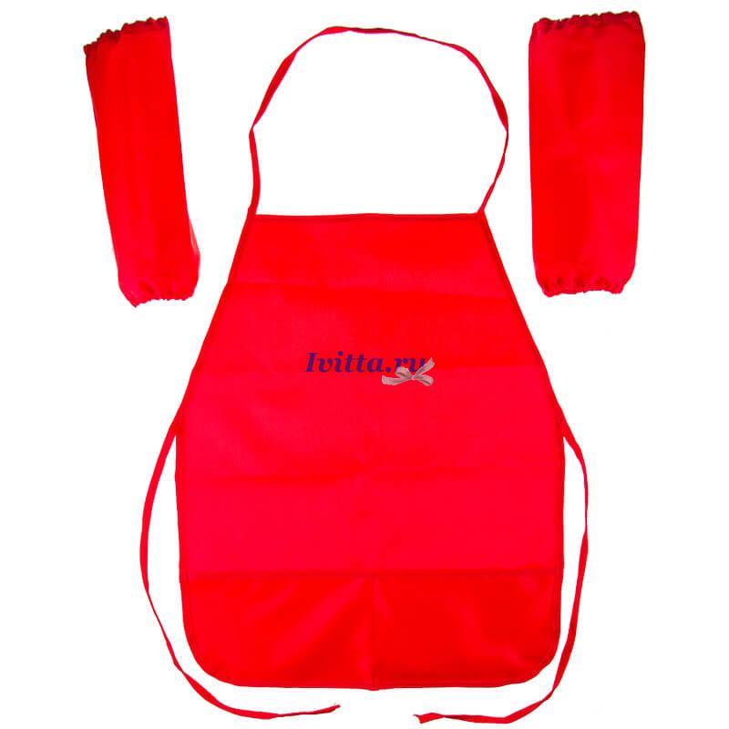 Фартук с нарукавниками красный (2 кармана)