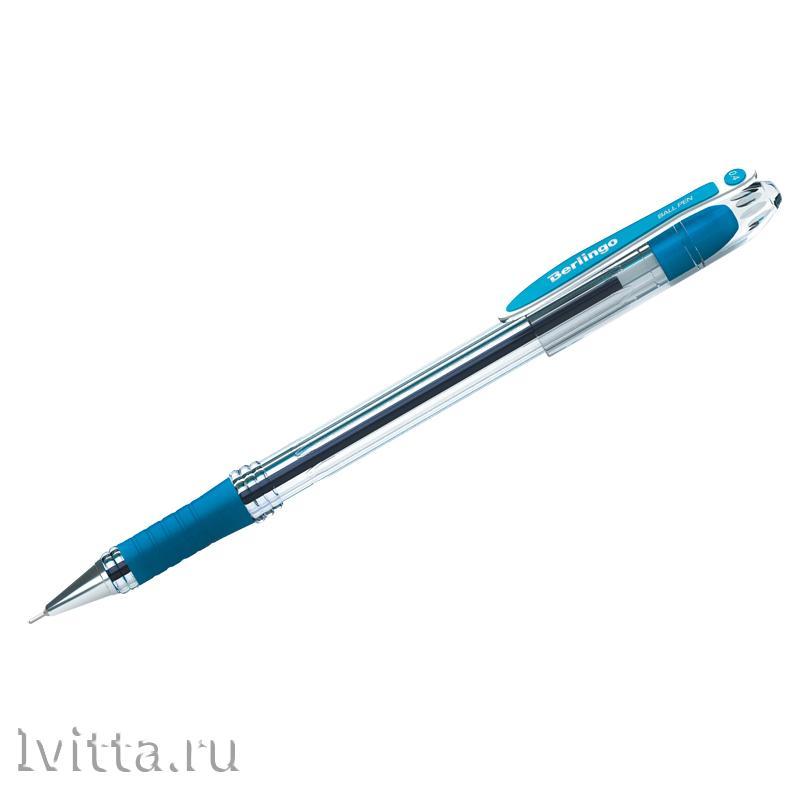 Ручка шариковая Berlingo I-10, синяя, грип
