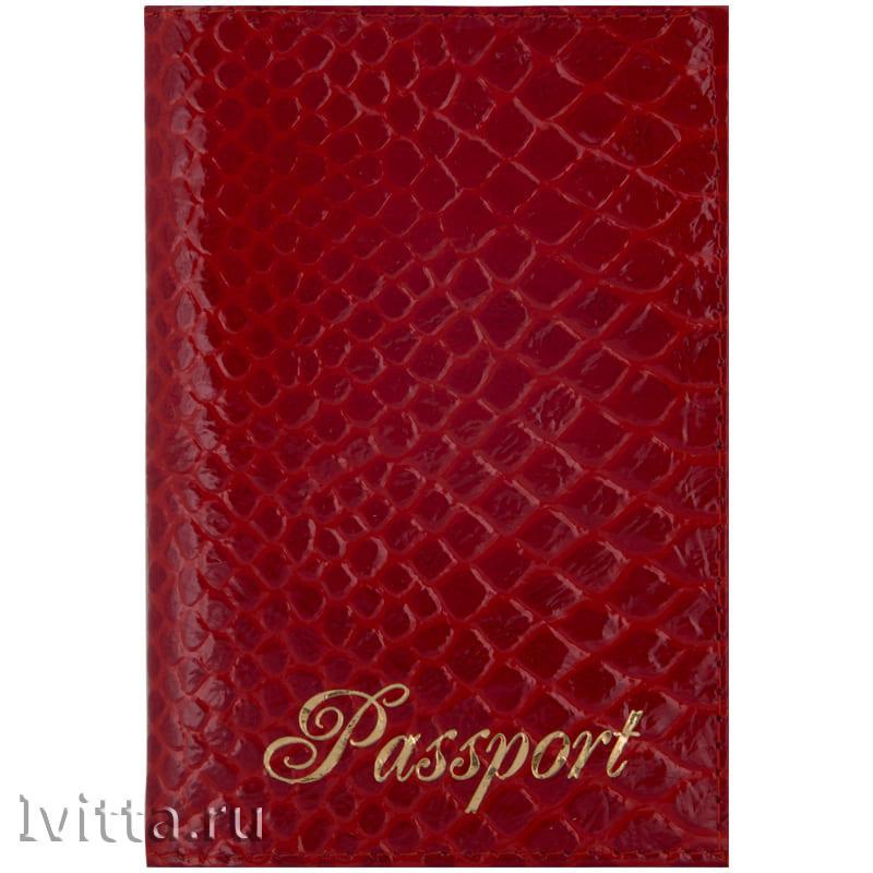 Обложка для паспорта Питон, кожа, красный