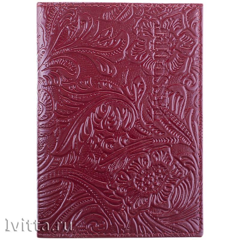 Обложка для паспорта, кожа, тиснение цветы, красный