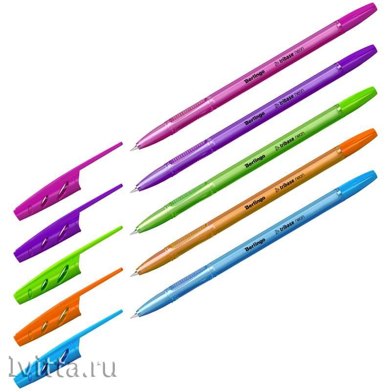 Ручка шариковая Berlingo Tribase Neon синяя 0,7мм - 5 шт