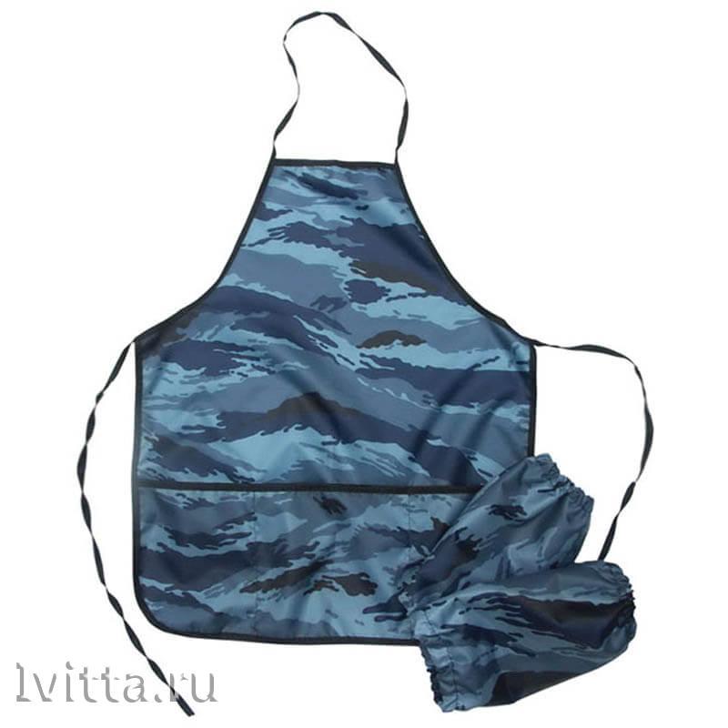 Фартук с нарукавниками Камуфляж синий (3 кармана)