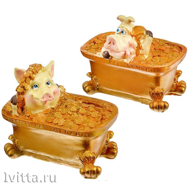 Копилка Хрюшка в ванне 11*12*7