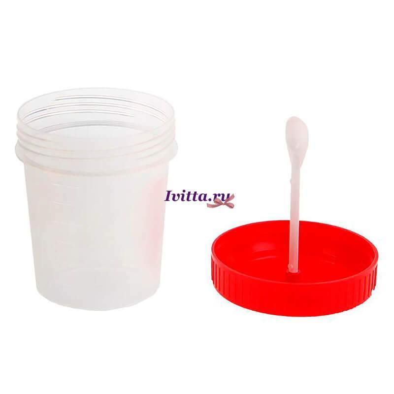 Контейнер для анализов стерильный с ложкой 60мл 1+1+1