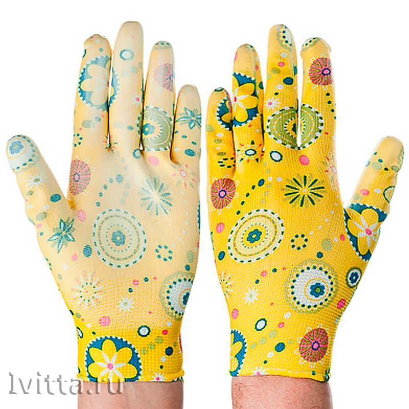 Перчатки садовые с нитриловым полуобливом (р-р 9)