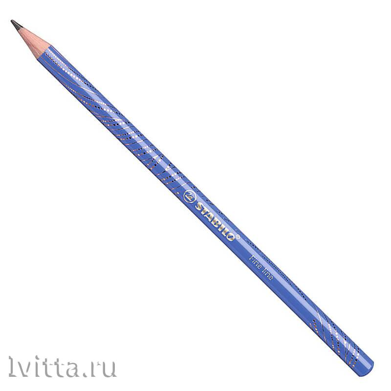 Карандаш ч/г Stabilo Fine Line НВ, корпус синий/золотой