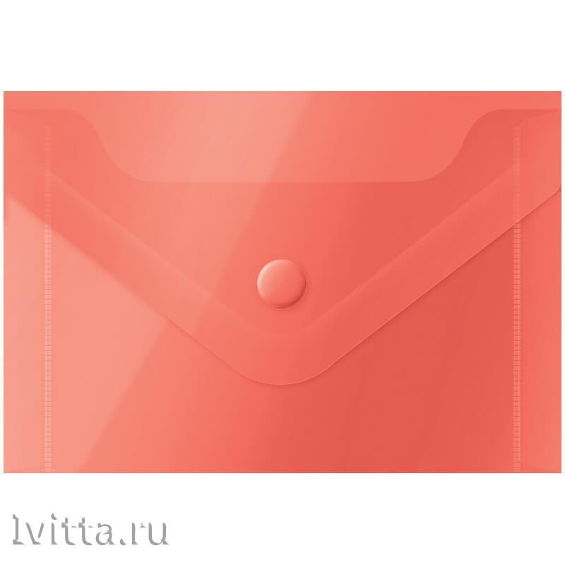 Папка-конверт на кнопке А7 (74*105мм), 150мкм, красная