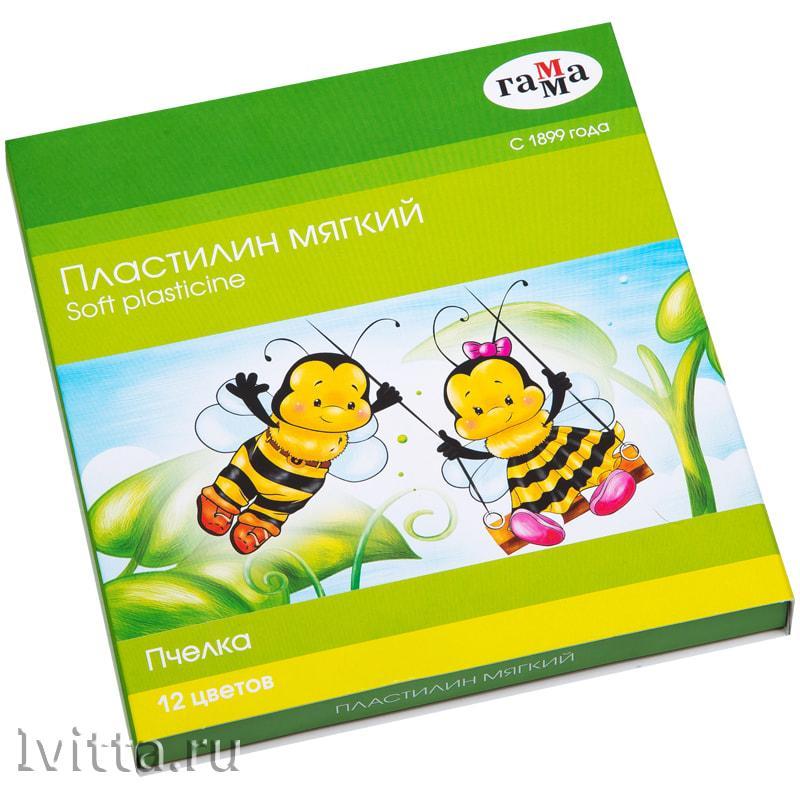 Пластилин Гамма Пчелка 12 цветов восковой, мягкий, 180г