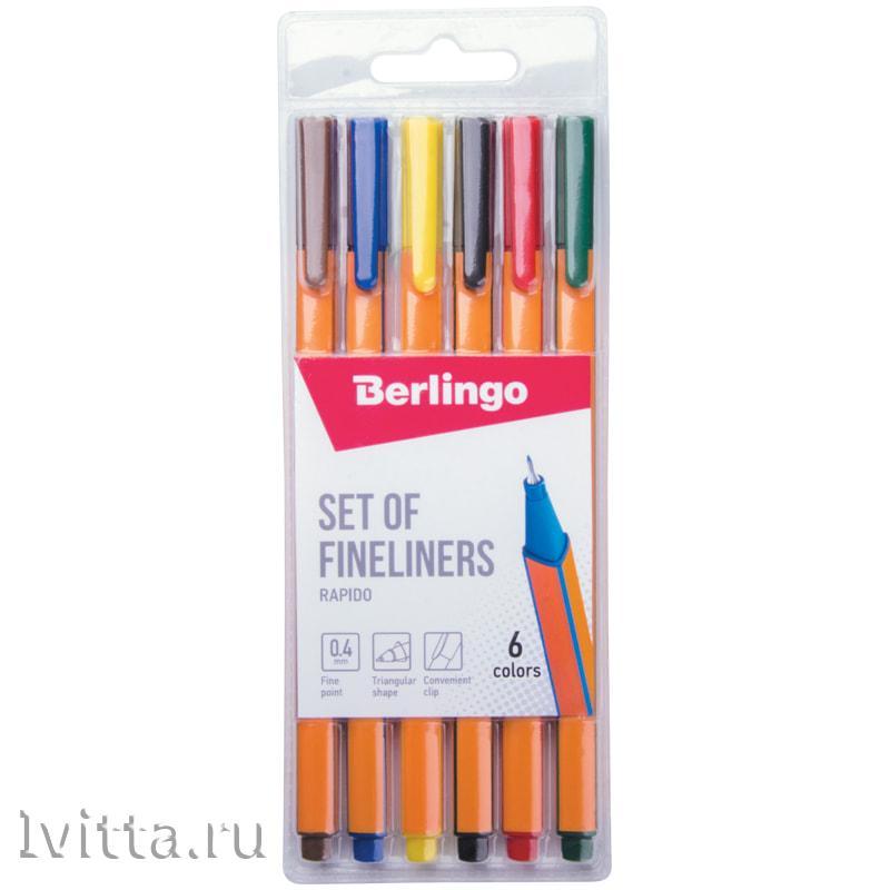 Набор цветных капиллярных ручек Berlingo Rapido 6шт. 6цв.