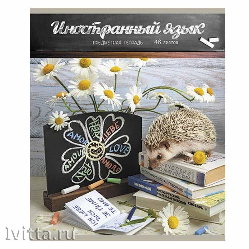 Тетрадь 48 листов предметная Тайная жизнь ежей Иностр. яз. (линия)