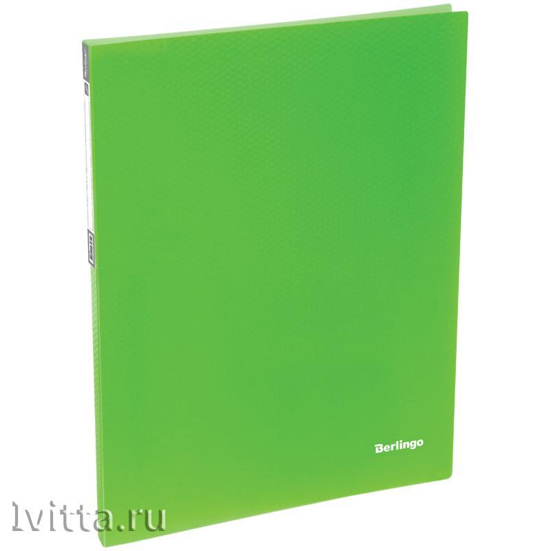 Папка c пружинным скоросшивателем Berlingo Neon, 17мм, 700мкм, неоновая зеленая