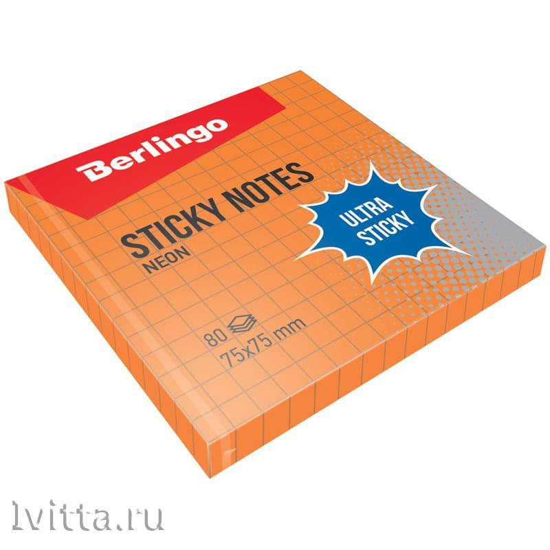 Самоклеящийся блок Berlingo Ultra Sticky 75*75мм, 80л, в клетку, оранж. неон