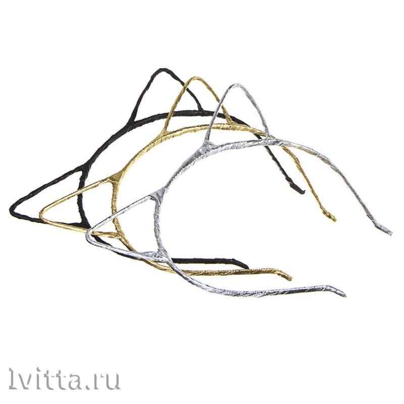 Ободок для волос с ушками 0,5см, металл, полиэстер