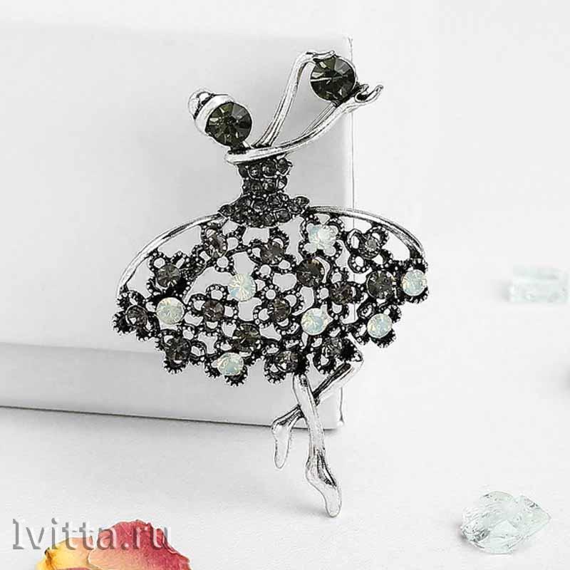 Брошь Балерина с мячом (в черненом серебре)