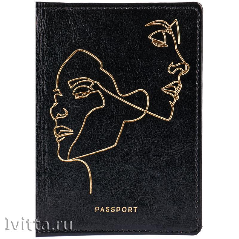 Обложка для паспорта Life line, кожзам гладкий, черный, тиснение фольгой