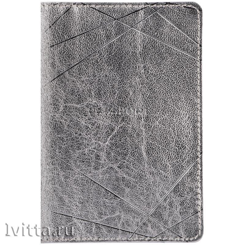 Обложка для паспорта Silver, кожа, серебро, тиснение фольгой