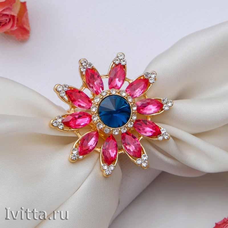 Кольцо для платка Цветок со стразами (розовый)