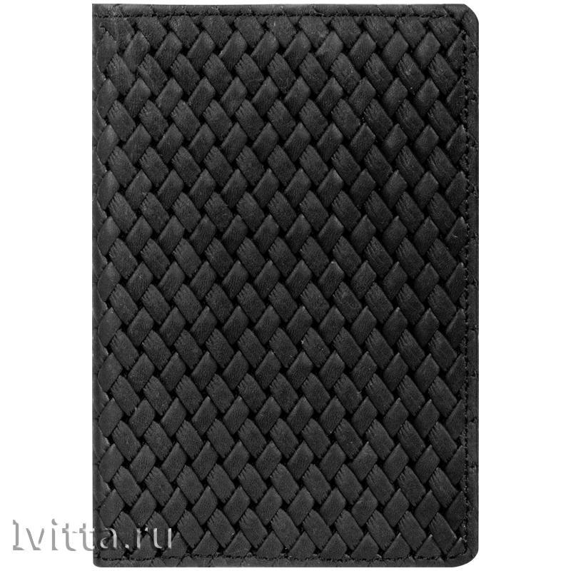 Обложка для паспорта OfficeSpace Плетенка, кожа, черный