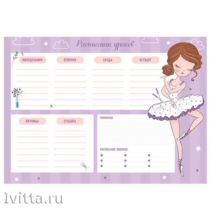 Расписание уроков с расписанием звонков А4 ArtSpace Пиши-стирай Балеринка