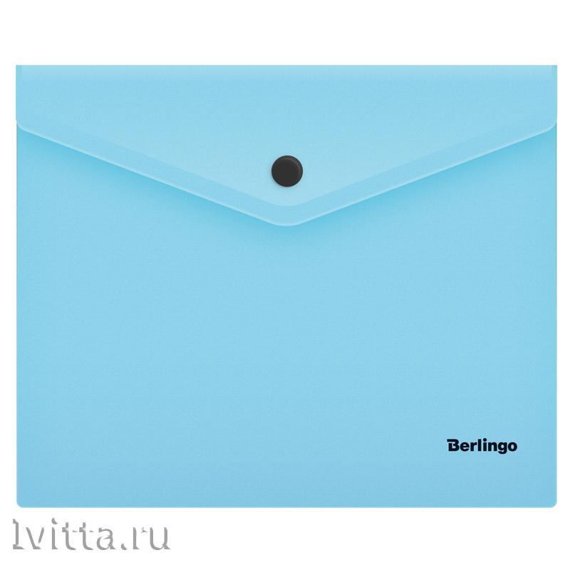 Папка-конверт на кнопке Berlingo Instinct, А5+, 180мкм, аквамарин