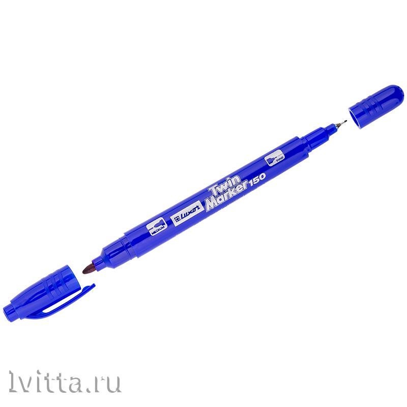 Маркер перман. двухстор. Luxor 150 синий, пулевидный, 0,7/1мм
