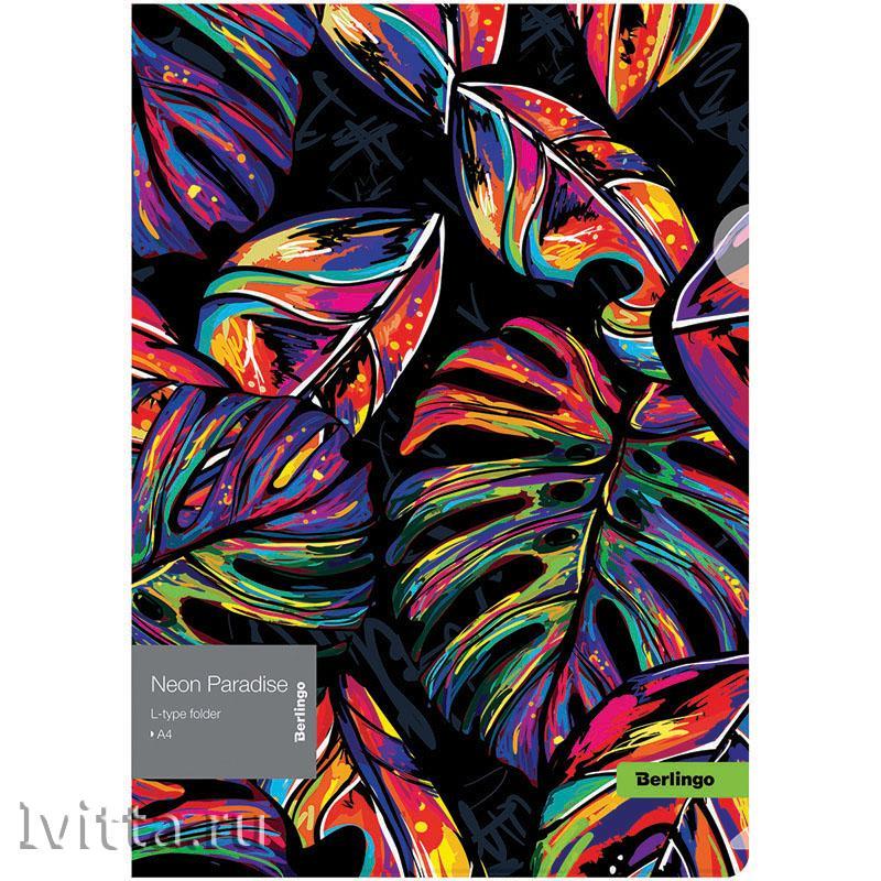 Папка-уголок Berlingo Neon Paradise, А4, 200мкм, с рисунком